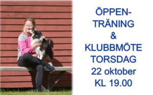 Öppenträning + klubbmöte 22/10 @ Lidköpings Brukshundklubb